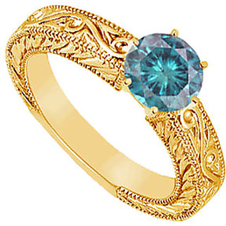 Angelic Blue Diamond Ring In 14K Yellow Gold