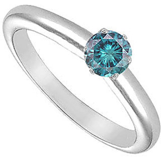 Fascinating Blue Diamond Solitaire Ring In 14K White Gold