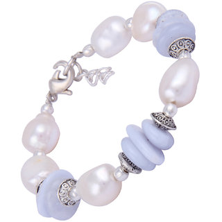 Pearlz Ocean Majestic Beauty White Freshwater Pearl  Blue Lace Agate Gemstone Beads 7.5 Inches Bracelet