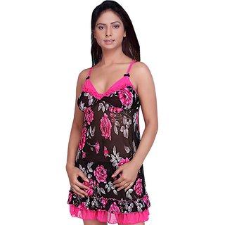 abdb153bce Buy Floral Pink Black Sensuous Frilly Night Frock -351-32 DLI4LNG351 ...