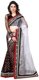 Styloce White Net Embroidered Saree With Blouse
