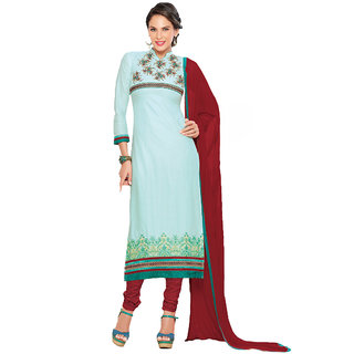 Saree7 Sky Blue Pure Cotton Cambric Salwar Kameez