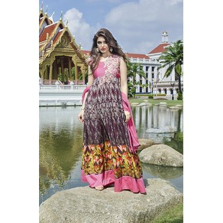 Ladyview Pink  Multi Printed Cotton Anarkali Suit