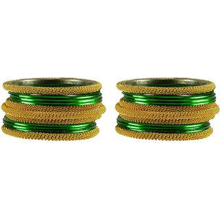 Green Plain Brass Bangle