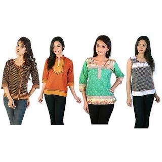 Exclusive Jaipuri Design 4 Cotton Kurtis Combo Set 373-38