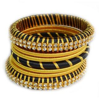 Yellow - Black Designed Shine Silk Thread Bangles for Women, Set of 7