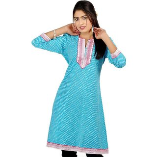 Exclusive Hot Designer Girls Blue Cotton Kurti 530-40