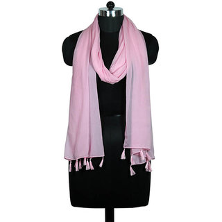 faf2df7f947f1 Uso Uno Pink Plain - Solid Polyester Women'S Scarf, Stole, Dupatta