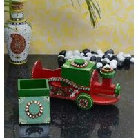 Art Wooden Train With  Dry Fruit Box