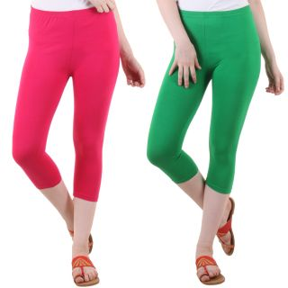 Diaz Pink Green Cotton Lycra Capris