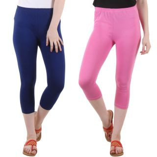 Diaz Blue Pink Cotton Lycra Capris