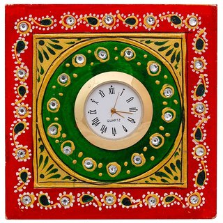Gomati Ethnic  Analog Multicolor Marble Tabletop clock