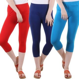 Diaz Red Blue Turquoise Cotton Lycra Capris