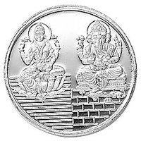 Mahna 995 Silver 5 Gms Laxmi Ganesh Coin/Sikka With Free Five Mukhi Rudraksha