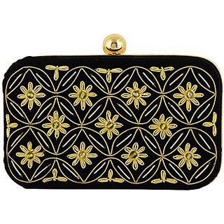 Duchess Handicraft Item Clutches (BLACK AND GOLD)(000496BG)