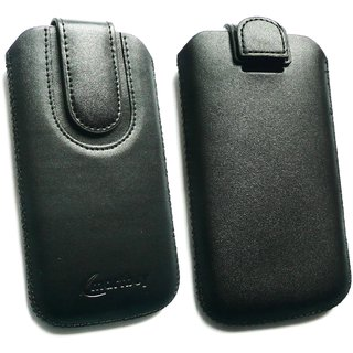 Emartbuy Black Plain Premium PU Leather Slide in Pouch Case Cover Sleeve Holder ( Size LM2 ) With Pull Tab Mechanism Suitable For XOLO Play 6X-1000