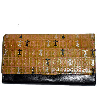 Handpainted Leather Women's Clutch Wallet-556-arp24-doll-black