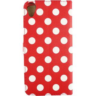 Emartbuy Phone HTC Desire 820 Case Wallets/Flips Red Polka