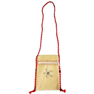 Fascinating Cream And Orange Color Sling Handbag For Women And Girls