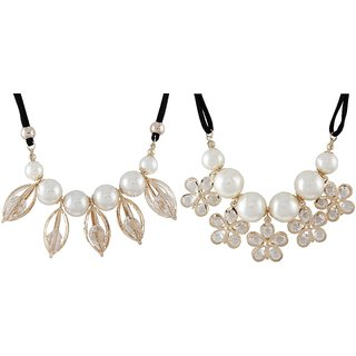 9blings Combo Pearl Crystal Colletion 2 Sets Necklace