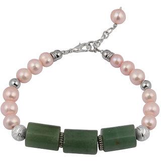 Pearlz Ocean Pink Fresh Water Pearl  Green Aventurine Beads 7.5 Inches Bracelet