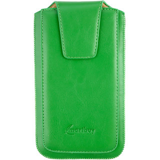 Emartbuy Sleek Range Green Luxury PU Leather Slide in Pouch Case Cover Sleeve Holder ( Size LM2 ) With Luxury PUll Tab Mechanism Suitable For ikiMobile KF 5