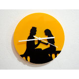 Blacksmith Prince And Princess-Black & Yellow Silhouette-Wall Clock