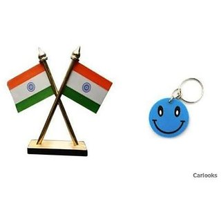 NEW Indian Flag Stand Fore Office,Home Car Dashboard With Free Key Chain