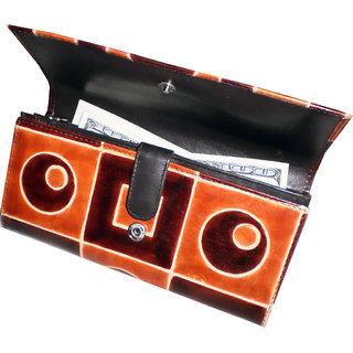 arpera Leather Women's Clutch Wallet-628-c11164-geom-brown