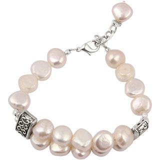 Pearlz Ocean  Coin- Shaped White Fresh Water Pearl 7.5 Inches Bracelet