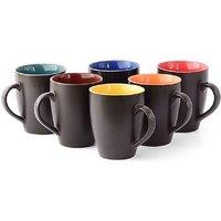 Large Black Mat Finish Ceramic Tea  Coffee Mug, 300 ml, Set of 6 Pieces, Multicolor