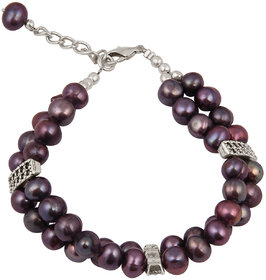 Pearlz Ocean Dyed Purple Fresh Water Pearl 7.5 Inches Bracelet