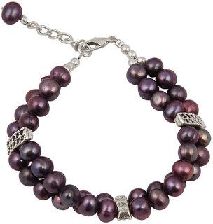 Pearlz Ocean Dyed Purple Fresh Water Pearl 7.5 Inches Bracelet