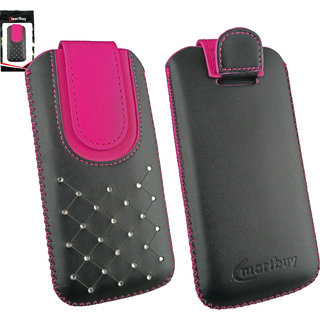 Emartbuy Black / Hot Pink Gem Studded Premium PU Leather Slide in Pouch Case Cover Sleeve Holder ( Size 3XL ) With Pull Tab Mechanism Suitable For Alcatel Lte