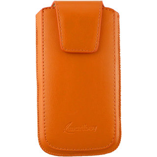 Emartbuy Sleek Range Orange PU Leather Slide in Pouch Case Cover Sleeve Holder ( Size LM2 ) With Pull Tab Mechanism Suitable For Posh Mobile Kick Pro 4G L520