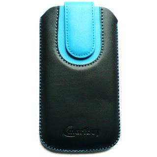 Emartbuy Black / Blue Plain Premium PU Leather Slide in Pouch Case Cover Sleeve Holder ( Size LM2 ) With Pull Tab Mechanism Suitable For ZTE Blade A452