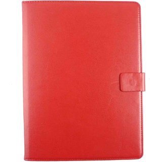 Emartbuy Xoro TelePAD 795 7.9 Inch Tablet 7 Inch Universal Range Red Plain Multi Angle Executive Folio Wallet Case Cover With Card Slots + Stylus
