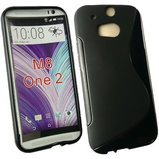 Emartbuy Phone HTC One M8 Case Slim Gel Black Wave