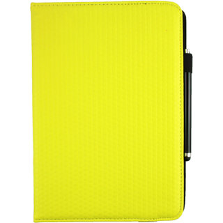 Emartbuy Lenovo Ideatab S6000 10 Tablet PC Universal ( 9 - 10 Inch ) Yellow Padded 360 Degree Rotating Stand Folio Wallet Case Cover + Stylus