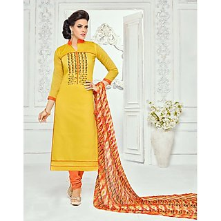 Jasmil Premium Embroidered Yellow Dress Material
