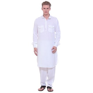 Arzaan Creation's Four Pocket White Pathani Suit