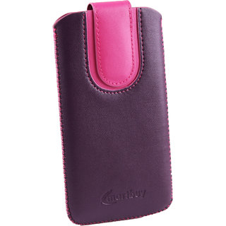 Emartbuy Purple / Pink Plain Premium PU Leather Slide in Pouch Case Cover Sleeve Holder ( Size 3XL ) With Pull Tab Mechanism Suitable For Acer Liquid M320