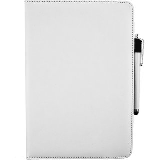 Emartbuy Karbonn Cosmic Smart Tab 10 PC Universal ( 9 - 10 Inch ) White 360 Degree Rotating Stand Folio Wallet Case Cover + Stylus