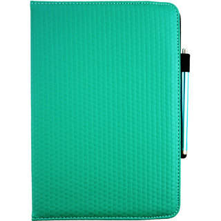 Emartbuy SuperSlimHD FireTab v2 Quad 10.1 Inch Tablet PC PC Universal ( 9 - 10 Inch ) Green Padded 360 Degree Rotating Stand Folio Wallet Case Cover + Stylus