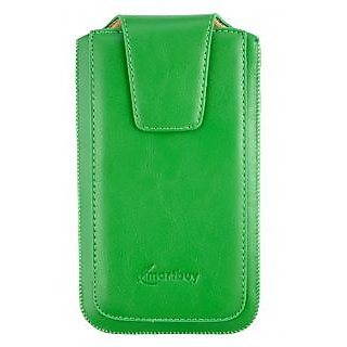 Emartbuy Sleek Range Green PU Leather Slide in Pouch Case Cover Sleeve Holder ( Size LM2 ) With Pull Tab Mechanism Suitable For Microsoft Lumia 535 / Lumia 535 Dual Sim