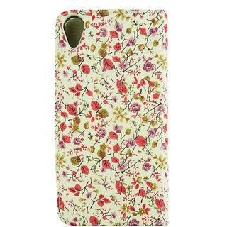 Emartbuy Phone HTC Desire 820 Case Wallets/Flips Pink/Green Floral