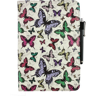 Emartbuy Samsung Galaxy Tab S2 9.7 PC Universal ( 9 - 10 Inch ) Multi Coloured Butterflies 360 Degree Rotating Stand Folio Wallet Case Cover + Stylus