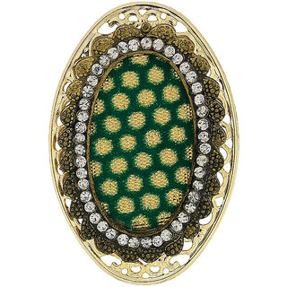 Anuradha Art Oval Shape Beautiful Green Colour Styled With Stone Brooch/Sari Pin For Women/Girls