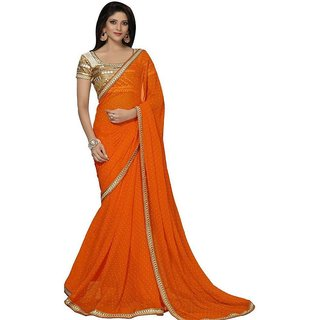 Snoby Orange Georgette Printed Saree With Blouse