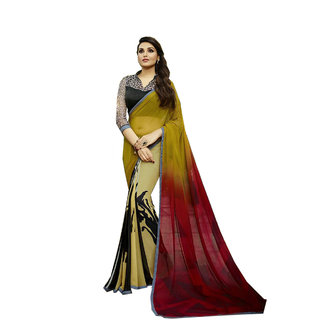 Snoby Beige Georgette Printed Saree With Blouse